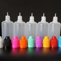 Barato garrafas de gotas de gotas plásticas plásticas vazias de 50ml LDPE com tampões à prova de criança e ponta fina longa para o suco líquido do e líquido do cig