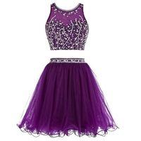 Impresionante vestido corto de dos piezas de fiesta negro púrpura tulecoming vestido de cerradura con cremallera con cremallera con cremallera Vestidos de fiesta