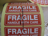 Wholesale-76x25mm FRAGILE HANDLE WITH CARE Self-adhesive Shipping Label Sticker Item no.SS16 Free shipping