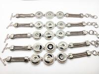Женская мода 3 кусок многослойная цепь имбирь защелки ювелирные изделия браслет подходит 18 мм взаимозаменяемые защелки Шарм регулируемый размер