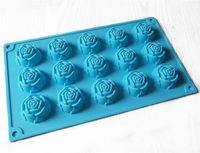 15 Rose Fleur Chocolat Gâteau Moule Flexible Silicone Savon Moule Pour Savon À La Main Bougie Bonbons cuisson ustensiles de cuisson moules outils de cuisine moules à glace