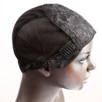 قبعات Greatremy المهنية مستعار لجعل شعر مستعار مع كومز وقابل للتعديل الأشرطة السويسري الرباط اسود متوسط الحجم