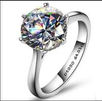 4Carat الأوروبية والأمريكية النمط SONA الاصطناعية الماس المشاركة أو خاتم الزواج 925 حقيقية الفضة والمجوهرات الدائري PT950 مختوم