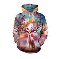 Осень зима высокое качество женщин с длинным рукавом цвета лося 3d цифровой печати толстовки толстовка джемпер пуловер толстовка с капюшоном пуловер пальто M-2XL