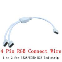موصل 4Pin لشريط RGB من 1 إلى 2 لسلك التوصيل مع موصل أنثى 4 دبوس لشريط LED 3528 5050 3014 RGB