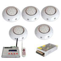 5pcs 사운드 지원 RGB DMX 수영장 빛 Piscina 12V LED 벽 마운트 수 중 조명 램프 + 1pc DMX512 컨트롤러 + 1pc 전원 공급 장치