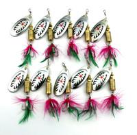 10шт новая металлическая ложка Spinnerbait рыболовные приманки с красным пером крючки воблер блестками приманки 7,5 см-10г