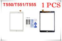 الشاشات التي تعمل باللمس محول الأرقام زجاج عدسة مع الشريط لسامسونج غالاكسي تبويب 9.7 A T550 T551 T555 مع شعار أدوات مجانية 1PCS / لوط