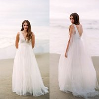 2016 grecian beach wedding dresses deep v neck sleeveless open back boho bridal gowns with beaded sash removable flowing ribbon sweep train