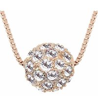 Acessórios de moda para mulheres design de marca rosa banhado a ouro shamballa cristal pingente colar charme jóias (5 cores) 6341
