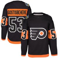 # 53 Shayne Gostisbehere Jersey S-5XL رجال 2017 إستاد سلسلة لاعب Premier Philadelphia Flyers مخيط التطريز شعارات هوكي الفانيلة