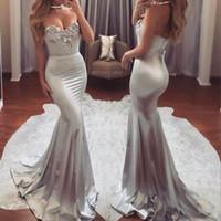 Últimos vestidos de baile de la sirena gris plateado Sexy Sweetheart con cuentas de barrido tren largos vestidos de noche formales más vestidos de baile de noche desgaste de la tarde