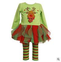 Девушки Рождество пижамы костюм Детские рождественские одежды обмундирования девушки Рождество пижама Комплекты одежды Детские наборы точек девушки хлопка одежды костюмы JL 001