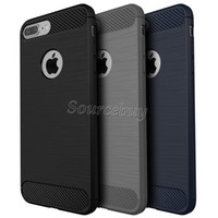 Funda TPU de fibra de carbono para Iphone 7 6 Plus Armadura híbrida Estuches para Galaxy S7 J7 P9LITE Combo a prueba de golpes Textura cepillada Contraportada
