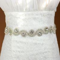 2020 Vestido nupcial de lujo barato Cinturón de cristal Vestido de novia Sash Rhinestones Cuentas de cuentas Satin Tulle Hecho A Mano Imagen real En stock