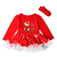 Vestidos da menina crianças roupas primavera outono vermelho meias de natal vestido de renda para meninas com headband