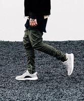 2016 Novos homens esporte hip hop calças zíperes laterais corredores mens casual medo de deus jogging harem pants calças streetwear pant pantalon homme