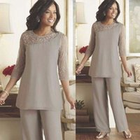 Silver Mother of the Bride Groom Pants Suits Cheap Plus Size...
