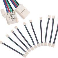 Adaptateur de carte PCB de connecteur de bande de 20X LED sans soudure avec la ligne 4Pin pour RGB 5050 10MM