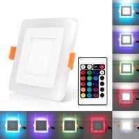 Plafoniera quadrata ultra sottile 6W 9W 16W 24W LED bicolore RGB nascosta plafoniera quadrata bianca fredda AC 100-265V