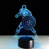 2017 Captain America 3D Illusion Night Lamp 3D Optical Lamp ...