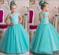 Lovely Flower Girls Dresses Jewel With Lace Applique Cupcake Girls Dresses Back Lace-up Floor-Length Custom Made Custom Made Party Gowns