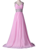 Free Shipping beaded Halter Long Cocktail Prom Dresses Chiff...