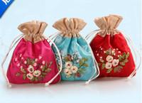 Gratis schip 20 stks handgemaakte hoge kwaliteit 12 * 15cm borduurbrocade brocart tas sieraden tassen snoep kralen tassen bruiloft cadeau tassen