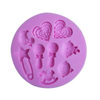 Molde de la torta de la pasta de azúcar del silicón del juguete del bebé, moldes de la vela, molde del chocolate para las tortas envío libre TY1907
