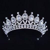 Cristales de plata de lujo Coronas de boda Tiaras de novia con cuentas Diamantes de imitación Piezas para la cabeza Diadema Accesorios para el cabello baratos Corona de desfile