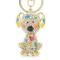 Smalto Dalmatian Dog Red Heart Crystal Handbag Portachiavi Portachiavi Keychains per auto Portachiavi Portagli