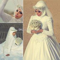 عالية الرقبة طويلة الأكمام العربية الحجاب فساتين الزفاف مسلم مع لآلئ مطرز مخصص 2021 الرومانسية يزين الرباط أثواب الزفاف الأبيض