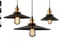 Lampada a sospensione del magazzino industriale del loft RH lampade di campagna americane Lampade vintage per il ristorante / camera da letto Decorazione della casa Nero