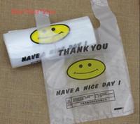 Chaleco bolsa de supermercado bolsas de plástico cara de la sonrisa bolsa de bolsas de la compra de alimentos y bebidas para Llevar bolsa de envasado 3SICK delgada de embalaje
