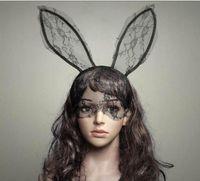 Косплей лицо глаз кружева вуаль Маска оголовье кролик Банни длинные уха hairband Хэллоуин Рождественская вечеринка необычные платья мяч Маскарад реквизит новый подарок