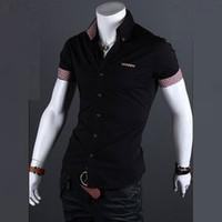 Wholesale-Hot Sale Summer New Fashion Mens Casual Single Breasted Shirt Mens Short Sleeve Dress Shirts Summer Plaid Contrast Male Shirts