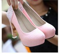 Novia de la boda blanca atractiva alto Plataforma de cristal transparente Zapatos de tacón Chunky, Discoteca Partido bombas de las mujeres Tamaño envío de la gota 35-39