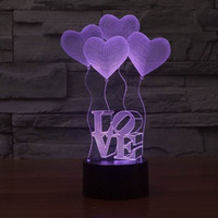 Romantic 3D Hearted- shaped Visualization LED Night Lights, Op...