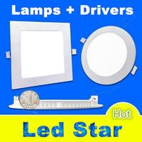9w 12w 15w 18w 25w luces de panel de techo con luz led AC 110-240V downlights de panel led regulable 120 ángulo + controladores de potencia