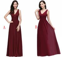 Menos de $ 35 chiffon dama de honra vestidos barato borgonha pregas uma linha vestidos de dama de honra fluem vestidos de convidado de casamento vestidos robe real foto stock