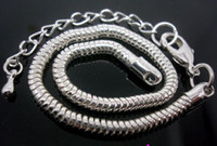 Venta al por mayor a granel bajo precio 20pcs / lot base de cobre chapado en plata broche de langosta cadena de la serpiente pulseras de 3 mm 20 cm + 7 cm encantos europeos encantos de los encantos
