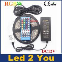 SMD5050 RGBW RGBWW LED-Lichtstreifen (RGB + Weiß / Warmweiß) DC12V Flexible Ribbon-Lampe 60Led / M 40-Tasten-Controller + 12V5A-Adapter
