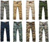 Top Popular men' s multi pockets causal Cargo Trousers f...
