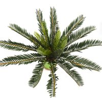 Artificial Palm Tree Green Leaf Plants Plastic Potted Bonsai...