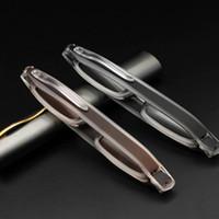 Giro 360 grados portátiles pluma lectura gafas plegables espejo antiguo luz mujeres hombres gafas envío gratis