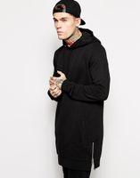 Atacado- New chegou longline hoodies homens fleece hoodiessets de moda sólida hoodieSets o período de primavera e outono e o capô longo