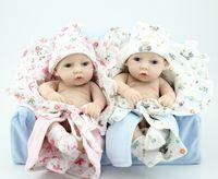 """Atacado-novo bebê silicone s / moda reborn bebês bonecas lifelike 12 """"Silicone vinil menino e boneca menina 100% feitos à mão"""