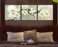 Framed m34- Plum blossom 3 panels, Pure Handpainted Huge Mode...