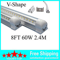 V-Şekilli 8ft Soğutucu Kapı LED Tüpler Işık 2400mm T8 Entegre Tüp Çift Satırlar SMD2835 Floresan Işıklar AC 85-265V