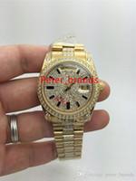 Ücretsiz kargo otomatik lüks erkek diamonds kol saati daydate sarı altın kılıf 36mm taş kayış marka saatler